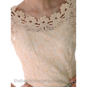 Vintage Saab 1950s Lace Blouse Sheer Short Sleeves Nice Details Sz 34 - The Best Vintage Clothing  - 1