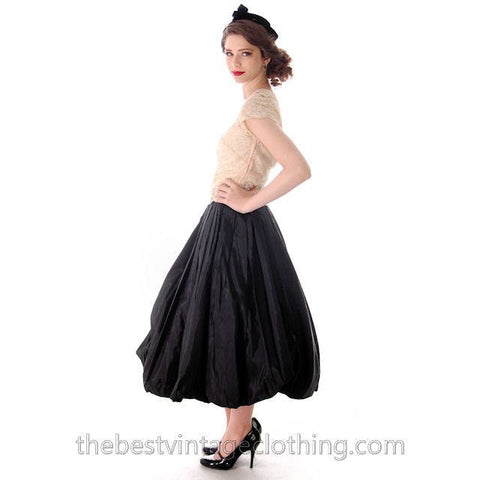 Vintage 1950s Black Pleated Taffeta Bubble Skirt Small 25 Waist - The Best Vintage Clothing  - 1