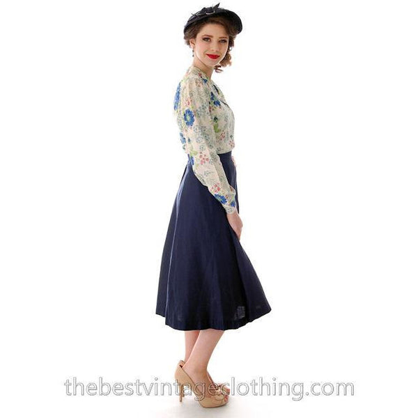 Vintage 1950s Skirt Navy Blue Fullish Courteena Small 26 Waist - The Best Vintage Clothing  - 1