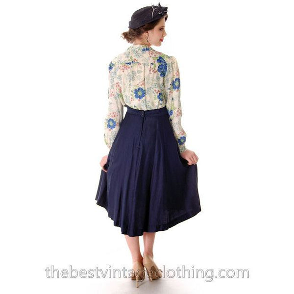 Vintage 1950s Skirt Navy Blue Fullish Courteena Small 26 Waist - The Best Vintage Clothing  - 2