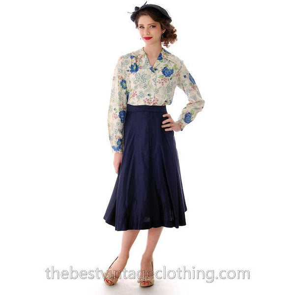 Vintage 1950s Skirt Navy Blue Fullish Courteena Small 26 Waist - The Best Vintage Clothing  - 3