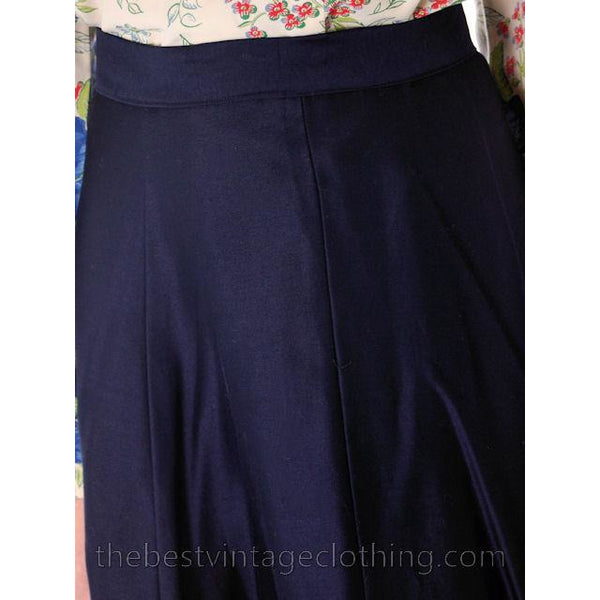 Vintage 1950s Skirt Navy Blue Fullish Courteena Small 26 Waist - The Best Vintage Clothing  - 4