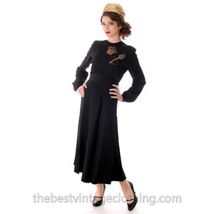 "Vintage 1940s Black Rayon Faille Skirt High Waist Wide Waistband 26"" - The Best Vintage Clothing  - 1"