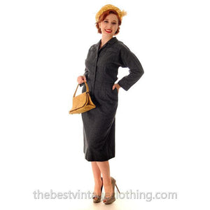 Vintage Grey Wool Secretary Dress 1950s Ben Barrack Size 6-8 - The Best Vintage Clothing  - 1