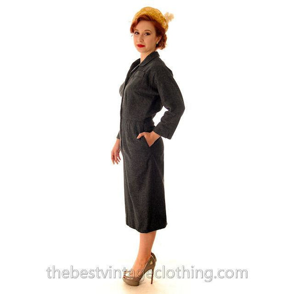 Vintage Grey Wool Secretary Dress 1950s Ben Barrack Size 6-8 - The Best Vintage Clothing  - 3