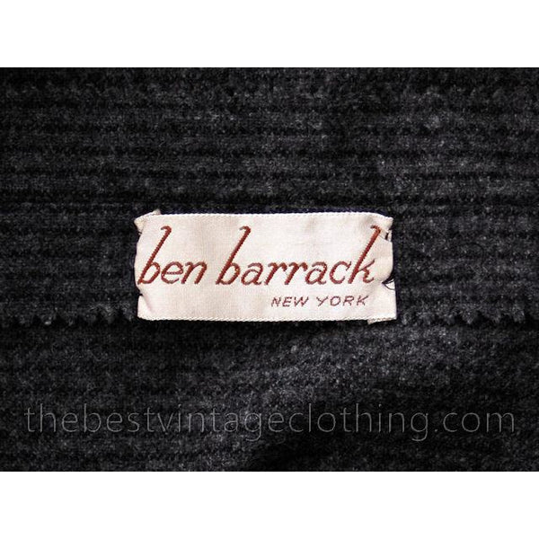 Vintage Grey Wool Secretary Dress 1950s Ben Barrack Size 6-8 - The Best Vintage Clothing  - 4