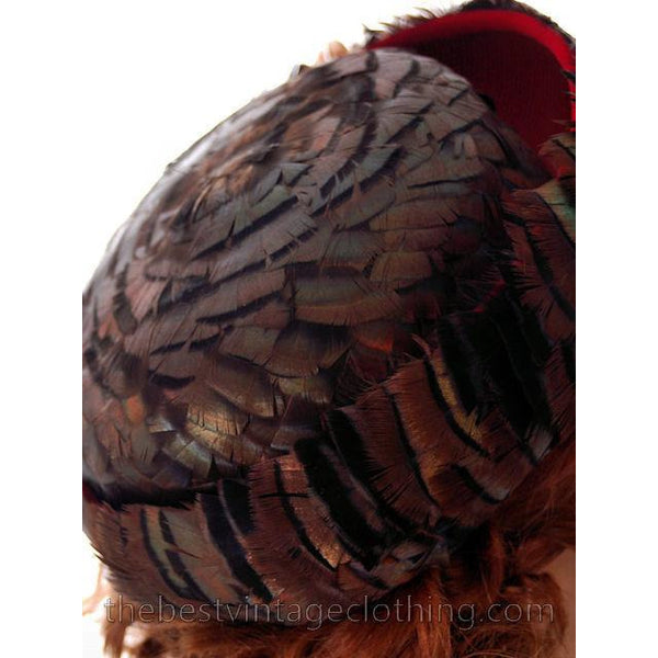 Vintage Ladies Hat Iridescent Turkey Feathers Brown Orange Green 1950s - The Best Vintage Clothing  - 7