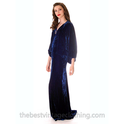 Stunning 1930s Vintage Crushed Blue Velvet Evening Gown + Batwing Bolero Jacket 42 Bust M L