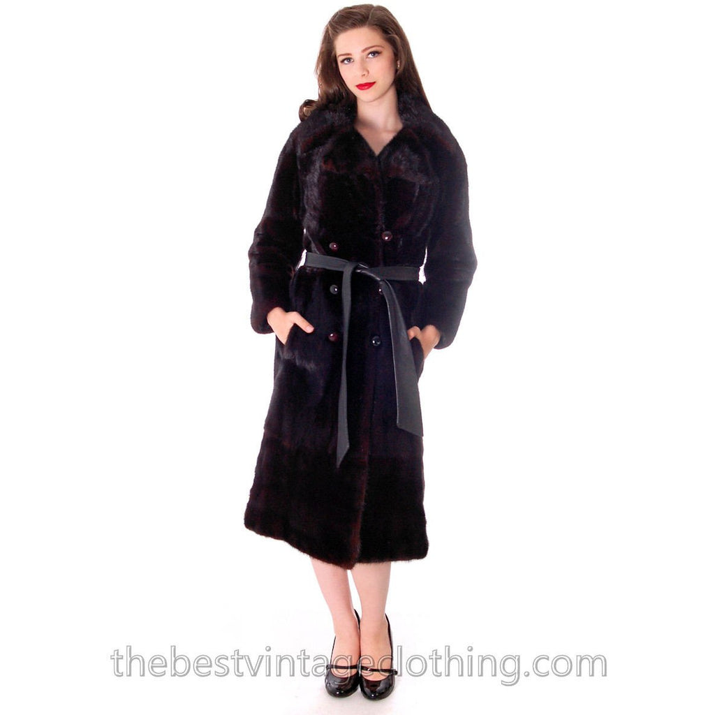Black Ranch  Mink Trench Coat Zip Off Bottom Makes Stole S FREE MINK HAT - The Best Vintage Clothing  - 1