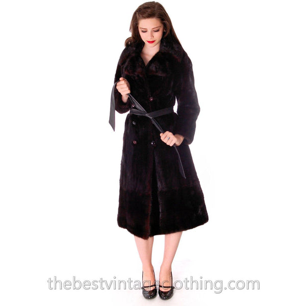 Black Ranch  Mink Trench Coat Zip Off Bottom Makes Stole S FREE MINK HAT - The Best Vintage Clothing  - 2