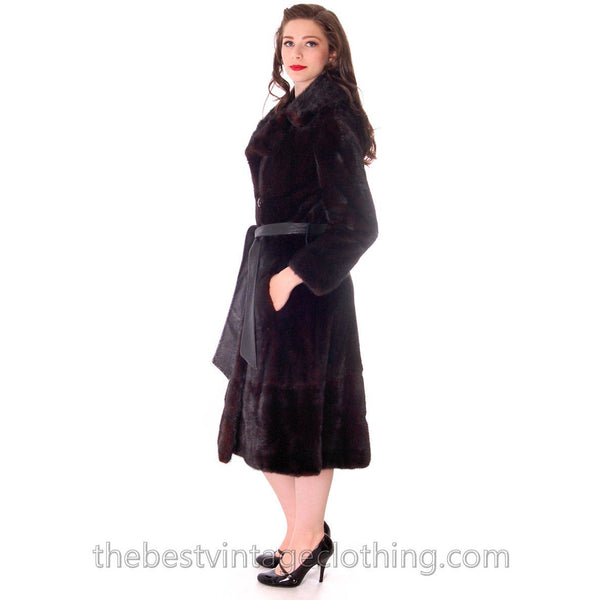 Black Ranch  Mink Trench Coat Zip Off Bottom Makes Stole S FREE MINK HAT - The Best Vintage Clothing  - 3