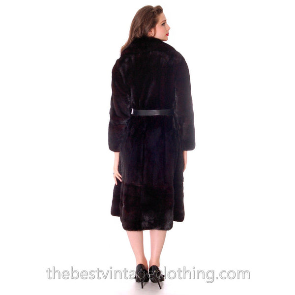 Black Ranch  Mink Trench Coat Zip Off Bottom Makes Stole S FREE MINK HAT - The Best Vintage Clothing  - 4