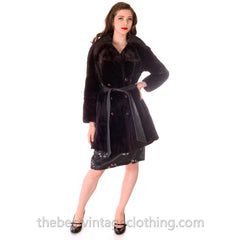 Black Ranch  Mink Trench Coat Zip Off Bottom Makes Stole S FREE MINK HAT - The Best Vintage Clothing  - 5