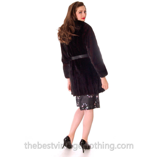 Black Ranch  Mink Trench Coat Zip Off Bottom Makes Stole S FREE MINK HAT - The Best Vintage Clothing  - 6