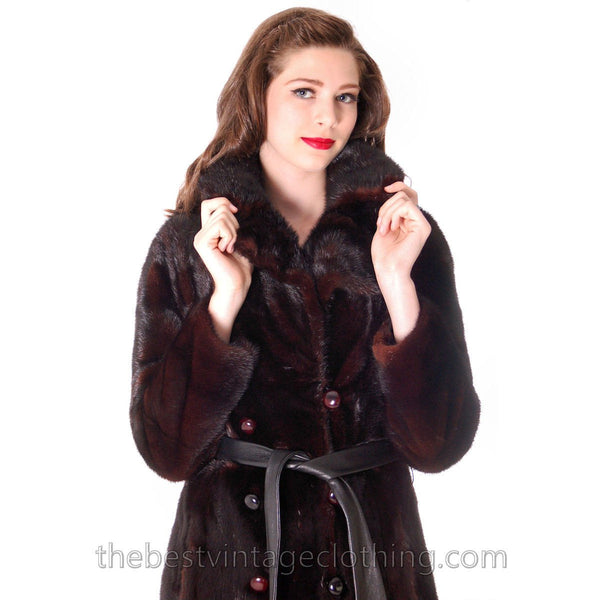 Black Ranch  Mink Trench Coat Zip Off Bottom Makes Stole S FREE MINK HAT - The Best Vintage Clothing  - 9