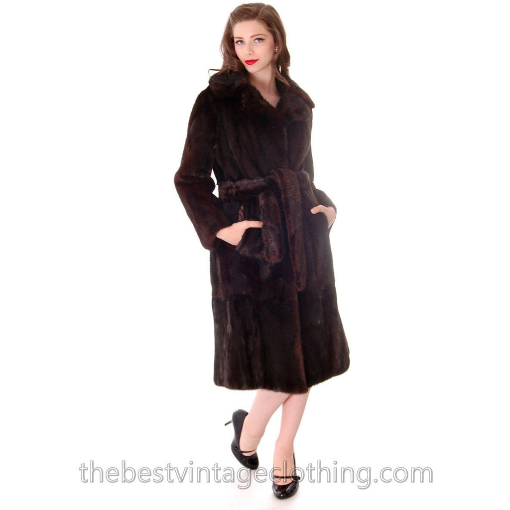Vintage Black Ranch  Mink Belted Trench Coat Christian Dior 1980s Medium - The Best Vintage Clothing  - 1