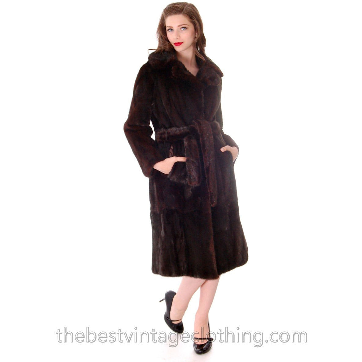 official hot-selling professional aesthetic appearance Vintage Black Ranch Mink Belted Trench Coat Christian Dior 1980s Medium