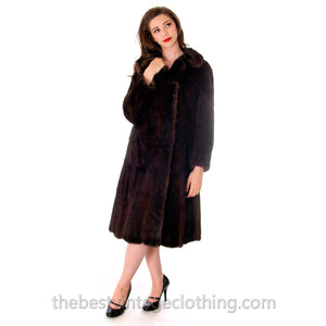 Genuine Saga Mink Fur Coat TOP QUALITY M-L Dark Brown Luxury Womens - The Best Vintage Clothing