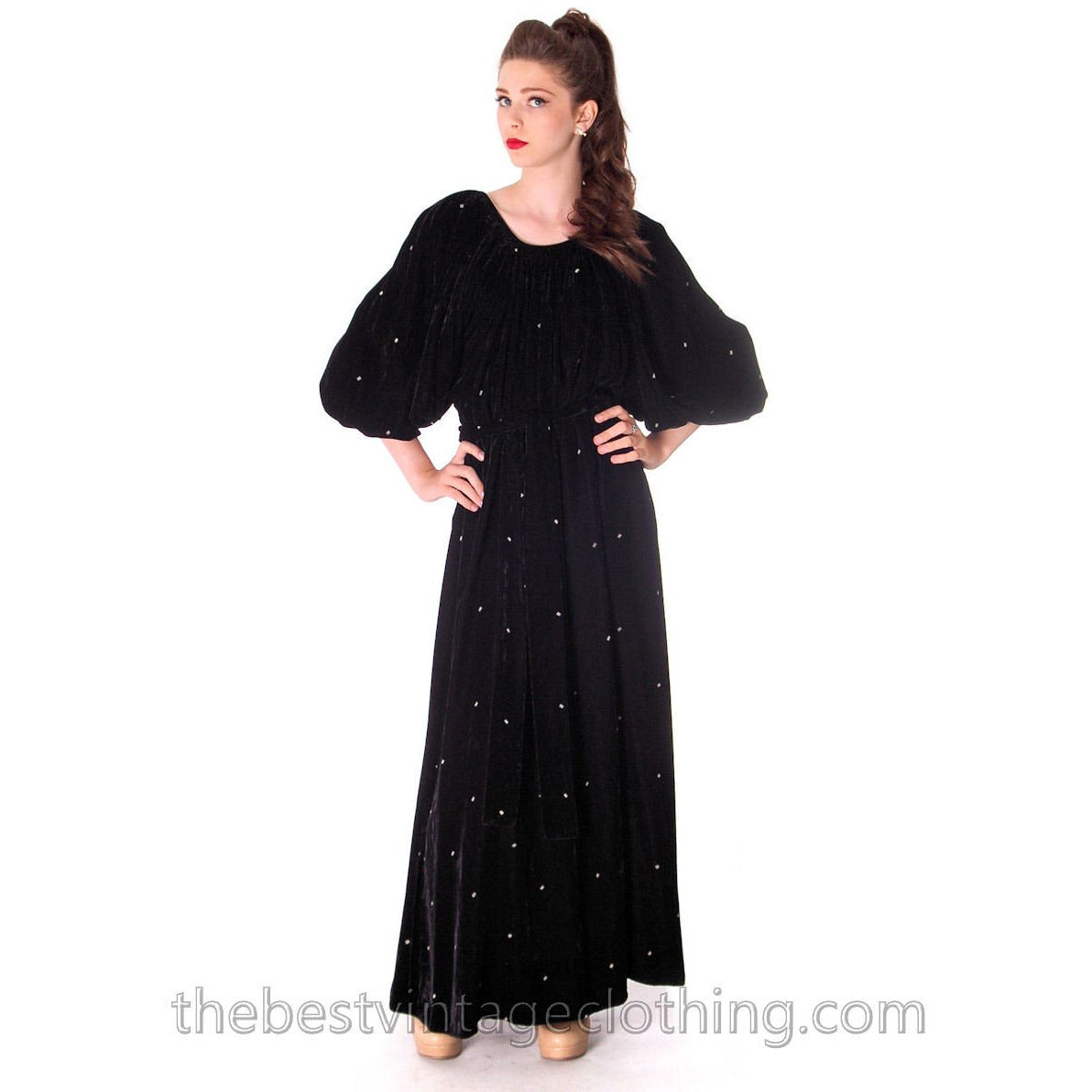 Stunning 1970s Vuokko Suomi Finland Black  Velvet Gown Diamond Pattern 1930s Style S-L - The Best Vintage Clothing  - 1