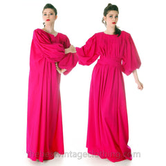 Stunning Vintage 1970s Vuokko Gown Fuchsia Pink Wool Voile Long Voluminous M - The Best Vintage Clothing  - 3
