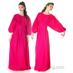 Stunning Vintage 1970s Vuokko Gown Fuchsia Pink Wool Voile Long Voluminous M - The Best Vintage Clothing  - 4