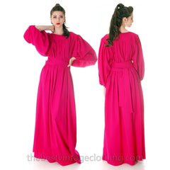 Stunning Vintage 1970s Vuokko Gown Fuchsia Pink Wool Voile Long Voluminous M - The Best Vintage Clothing  - 1