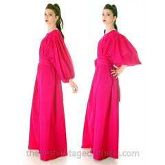 Stunning Vintage 1970s Vuokko Gown Fuchsia Pink Wool Voile Long Voluminous M - The Best Vintage Clothing  - 5
