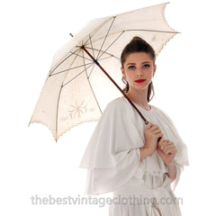 Antique Parasol White Linen Eyelet Victorian Bamboo Handle Excellent Condition - The Best Vintage Clothing  - 1