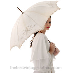 Antique Parasol White Linen Eyelet Victorian Bamboo Handle Excellent Condition - The Best Vintage Clothing  - 2