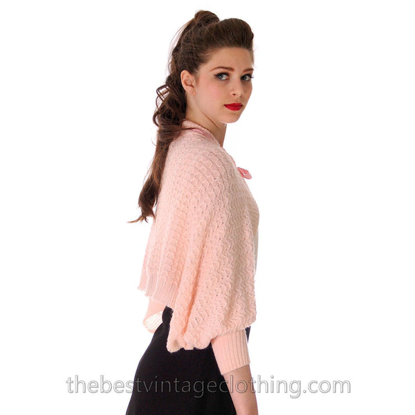 Vintage Fairy Kei Baby Pink Hand  Knitted Shrug Uniquely Made 1950s One Size Regular - The Best Vintage Clothing  - 3
