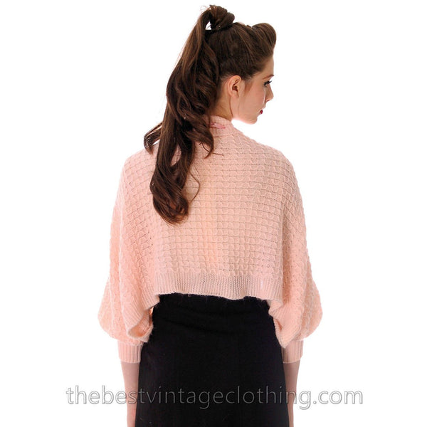 Vintage Fairy Kei Baby Pink Hand  Knitted Shrug Uniquely Made 1950s One Size Regular - The Best Vintage Clothing  - 4