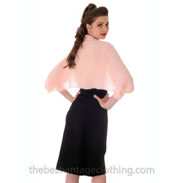 Vintage Fairy Kei Baby Pink Hand  Knitted Shrug Uniquely Made 1950s One Size Regular - The Best Vintage Clothing  - 5