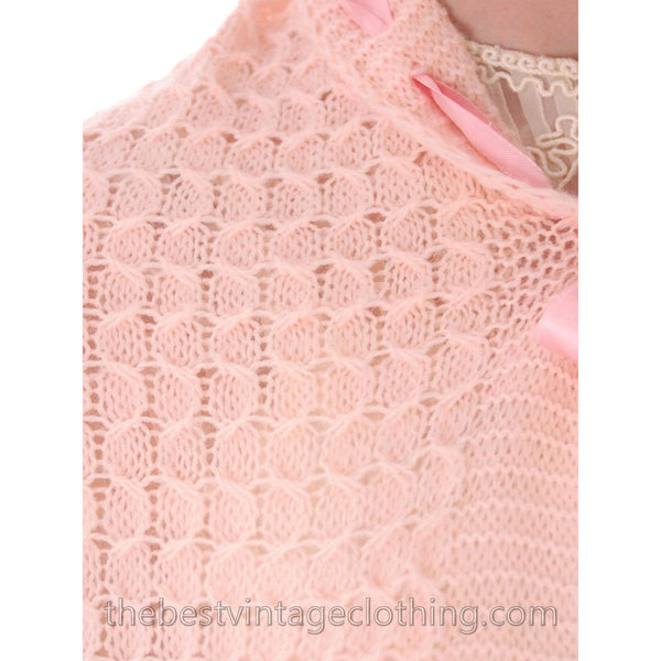 Vintage Fairy Kei Baby Pink Hand  Knitted Shrug Uniquely Made 1950s One Size Regular - The Best Vintage Clothing  - 6