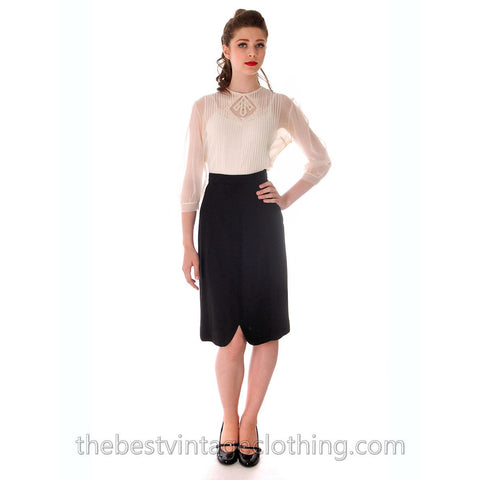 Vintage Black Wool Pencil Skirt Small Unique Front  Slit 1950s - The Best Vintage Clothing  - 1