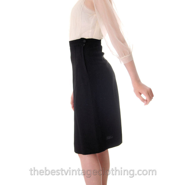 Vintage Black Wool Pencil Skirt Small Unique Front  Slit 1950s - The Best Vintage Clothing  - 3