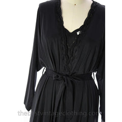 Shadowline Lingerie Peignoir Vintage Black NWT Large 1960s Robe & Nightgown 100% Nylon