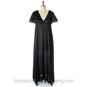 VINTAGE Black Nylon Nightgown Bertha Collar NWOT 1970s Large - The Best Vintage Clothing  - 1