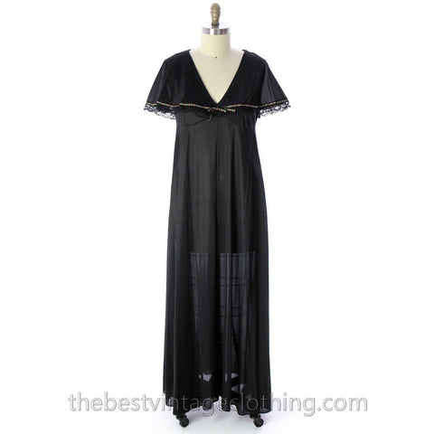 VINTAGE Black Nylon Nightgown Bertha Collar NWOT 1970s Large