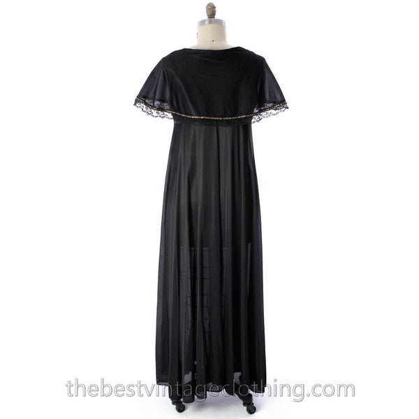 VINTAGE Black Nylon Nightgown Bertha Collar NWOT 1970s Large - The Best Vintage Clothing  - 3