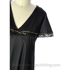 VINTAGE Black Nylon Nightgown Bertha Collar NWOT 1970s Large - The Best Vintage Clothing  - 4