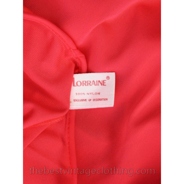 VTG Lorraine 3 PC Peignoir Hot Coral Nylon NWT Asian Influence 1950s Large - The Best Vintage Clothing  - 10