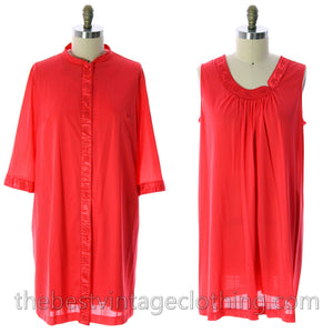 VTG Lorraine 3 PC Peignoir Hot Coral Nylon NWT Asian Influence 1950s Large - The Best Vintage Clothing  - 1
