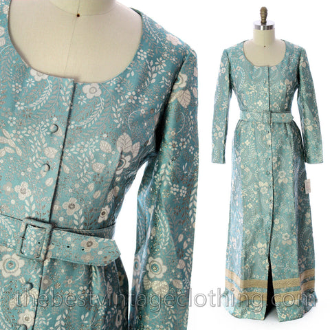 Harmay by St. AMOUR 1960's Ice Blue Metallic BROCADE Dress NWT L 44 Bust