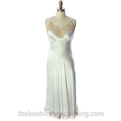 Fischer Heavenly Lingerie VTG Silk Charmeuse Slip  Pale Green Bias Cut 1940s  Gorgeous!