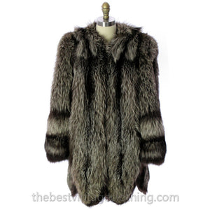 Silver Fox Coat Jacket Vintage 1940s Huge Shoulders Stunning Large  E.DiFulvio Furrier - The Best Vintage Clothing  - 1