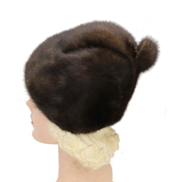 "Vintage Mink Fur Hat Dark Brown Amrose New York 21 3/4"" Cool Shape Near Mint 1960s"