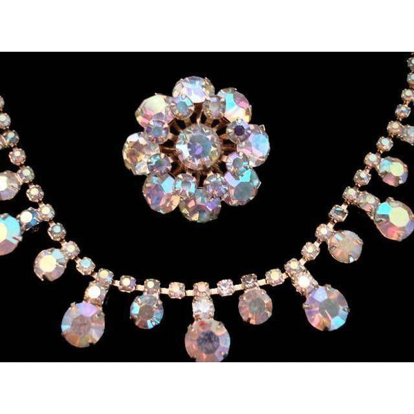 Vintage Aurora Borealis Rhinestone Necklace & Matching Brooch 1950'S