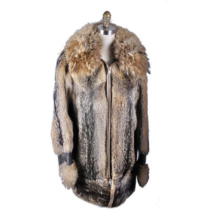 Mens Vintage 1970s Raccoon Fur & Leather Parka Coat Jacket M/L Outrageous!