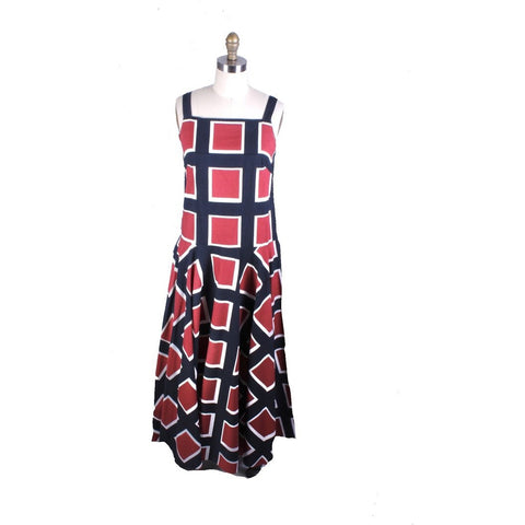 Vintage 1971 Marimekko Jumper Maxi Sleeveless Full Skirt Maxi Dress Cotton 38/10 Blue Red