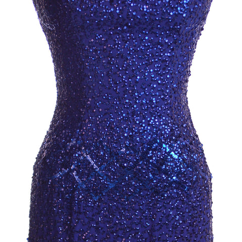 Vintage Cocktail Dress Blue Sequins Va-va-Voom! Frank Starr 1950s 36-26-36